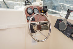 View of white yacht cockpit Stock Photo