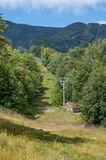 View from Whitface ski sloped and chair lift. In the summer Stock Photo
