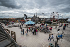 View of  the whole site at Banksys Dismaland Bemusement Park. Royalty Free Stock Photography
