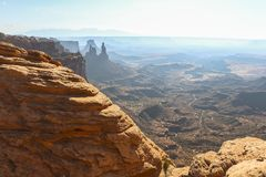 View on wide landscape from Mesa arch, Canyonlands stock photos