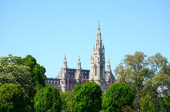 View of the Wiener Rathaus from the Volksgarten, Austria Stock Image