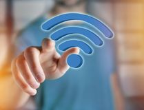 Wifi symbol displayed on a futuristic interface - Connection and Royalty Free Stock Images