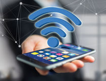 Wifi symbol displayed on a futuristic interface - Connection and Royalty Free Stock Image