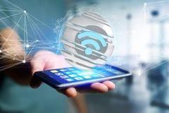 Wifi symbol displayed in a sliced sphere - 3d rendering. View of a Wifi symbol displayed in a sliced sphere - 3d rendering Royalty Free Stock Photography