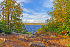 View from a Wilderness Campsite. View from Campsite on Gabamichigami Lake in the Boundary Waters stock image
