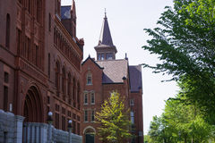 View of Williams Hall and Old Mill at University of Vermont. Historic building with facade and roof details of Williams Hall and the Old Mill,National Register Royalty Free Stock Photography
