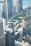 Chicago. View from Willis Tower top to catch Chicago downtown Skyline. The green open space is Millennium Park royalty free stock photography
