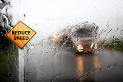 View through the wind shield of rainy day. royalty free stock photography