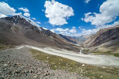 View on the winding road from Barskoon pass Royalty Free Stock Images