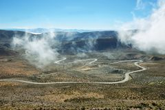 View of winding road known as Cuesta de Lipan Stock Photos