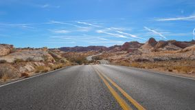 View Of Winding Road Passing Hills National Park, Red Rock Canyon, Nevada Stock Image