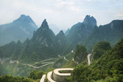 View of winding road of Tianmen mountain national park. Hunan province, China Royalty Free Stock Image