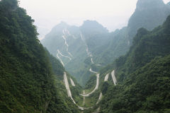 View of winding road of Tianmen mountain national park. Hunan province, China Stock Images