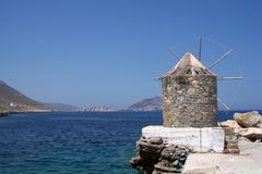 View of windmill in Amorgos royalty free stock photography