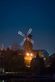 View on windmill Izmaylovo's Kremlin from Izmaylovskiy island in the night Royalty Free Stock Image