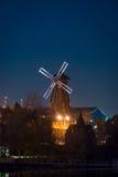 View on windmill Izmaylovo's Kremlin from Izmaylovskiy island in the night Royalty Free Stock Image