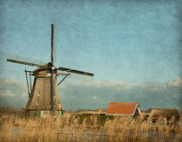View of windmill at Kinderdijk Royalty Free Stock Image