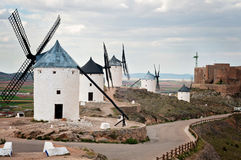 View of windmills in Consuegra, Spain. Traditional windmills in Don Quixote route in Consuegra, Toledo, Spain Royalty Free Stock Image