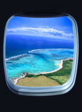 View from the window. Beautiful sea view from the window of plane Stock Image