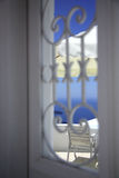View through the window. Across the caldera Santorini Greece Royalty Free Stock Photo