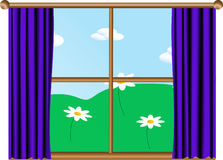 View from the window. Summer landscape behind the window Stock Photo