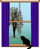 View from the window. Cat sitting on the window stock illustration