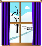 View from the window. Winter landscape behind the window Royalty Free Stock Images