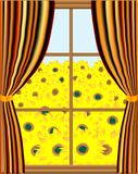 View from the window. Vector illustration of windows with sunflowers Stock Photo