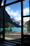 View through a window. Lake Louise through a window in the restaurant at Fairmont Chateau Lake Louise Royalty Free Stock Images