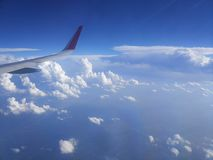 View from the window of the aircraft on the clouds royalty free stock photos