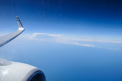 View through window aircraft during flight Stock Photo