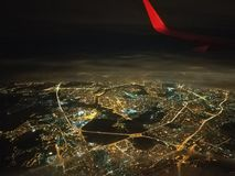 View from the window of the aircraft, somewhere in the Moscow region. stock photography