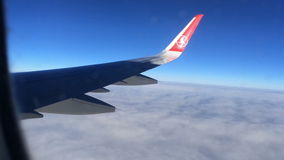 The view from the window of the aircraft wing, flight on a jet plane. Closeup. HD. stock footage