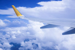 View from the window when airplane flying in the cloud Royalty Free Stock Image