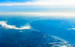 View from window of airplane flying over Norway Scandinavia. Stock Images