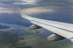 The view from the window an airplane wing Royalty Free Stock Photography
