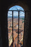 View from window on Asinelli Tower Royalty Free Stock Photography