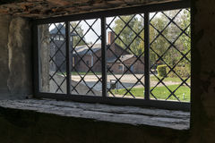 View from a window at Auschwitz concentration camp in Poland. BRZEZINKA, POLAND - OCTOBER 13, 2012: View from a window at Auschwitz concentration camp in Poland Royalty Free Stock Photography