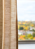 View from window, autumn, fall, linen curtain Royalty Free Stock Photo