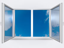 View from the window of blue sky stock photography