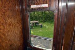 View through window on board steam train Stock Photos