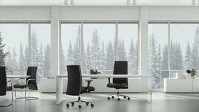 View from window in business office on winter snowfall on background coniferous trees and cloudy sky. Background plate. Chroma key video background stock video