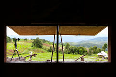 View from window with camera at Baan Pa Pong Piang located in Mae Jam, Chiangmai, Thailand. Royalty Free Stock Image