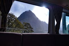 The view through the window of a campervan. In Fjordland New Zealand royalty free stock images
