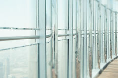 View from window with chrome columns, Dubai top Royalty Free Stock Photography