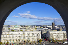 View through window on city center of Warsaw Stock Photo