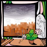 View from the window. View of the city, where there is a rain out the window with a blooming cactus Stock Image