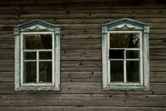 view on the window in courtyard in chernobyl zone royalty free stock photos