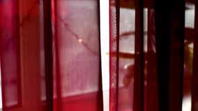 I look out the window through the curtain. View from the window through a curtain of Burgundy and glass, which is fixed garland, passing by different cars people stock footage