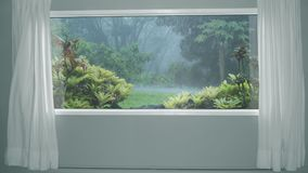 View from the window with curtains to tropical rain in forest. Background Plate, Chroma Key Video Background. View from the window with curtains to tropical rain stock footage